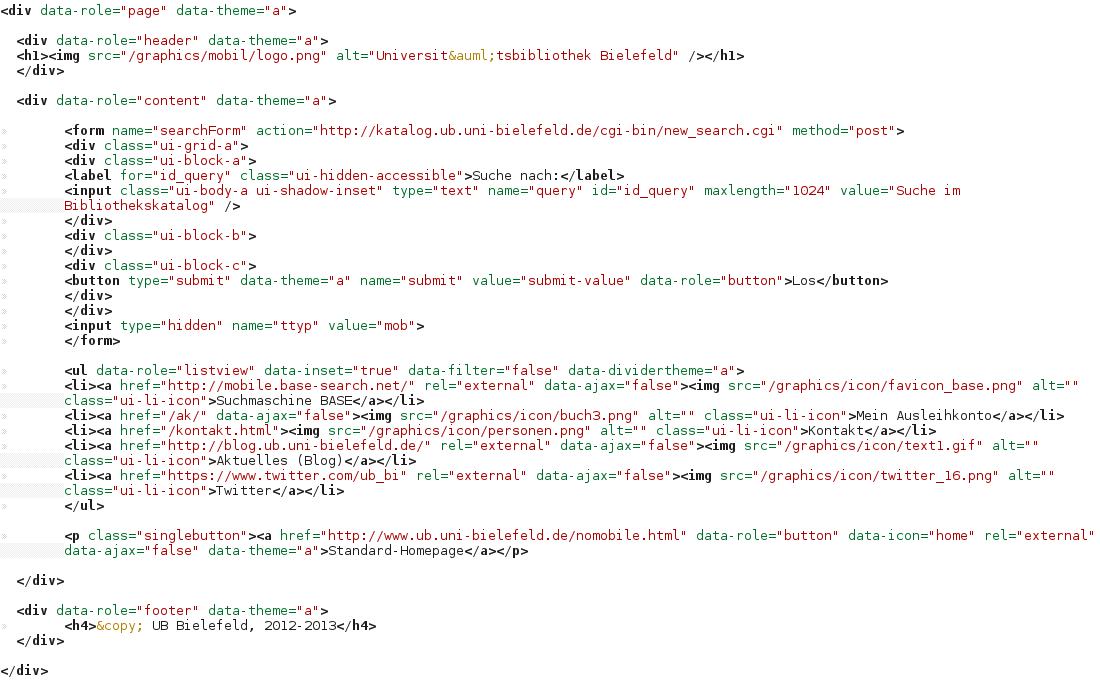 html mit jquery mobile - Kolloquium Prasentation Beispiel
